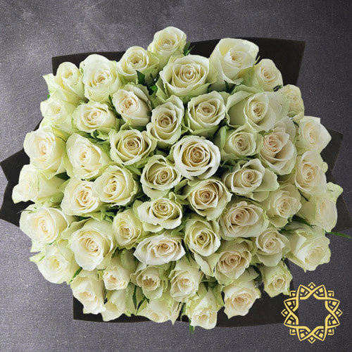 50 White Roses by Flora Flora| Buy Flowers in Riyadh Jeddah KSA | Gifts