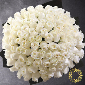 100 White Roses by Rose Privée | Buy Flowers in Riyadh Jeddah KSA | Gifts